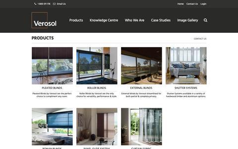 Screenshot of Products Page verosol.com.au - Products - Verosol - captured Nov. 16, 2018