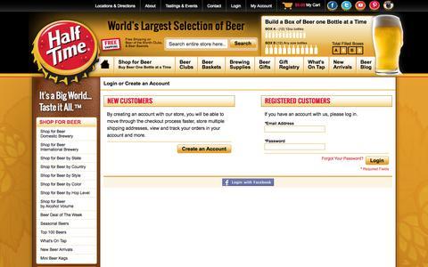 Screenshot of Login Page halftimebeverage.com - World's Largest Selection of Beer Online - Half Time - captured Sept. 24, 2014