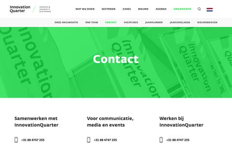Screenshot of Contact Page innovationquarter.nl - Contact - InnovationQuarter / Investeren & innoveren in Zuid-Holland - captured Sept. 19, 2018