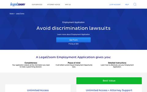 Screenshot of Jobs Page legalzoom.com - Employment Application - Download an Employment Application Form | LegalZoom - captured May 13, 2019