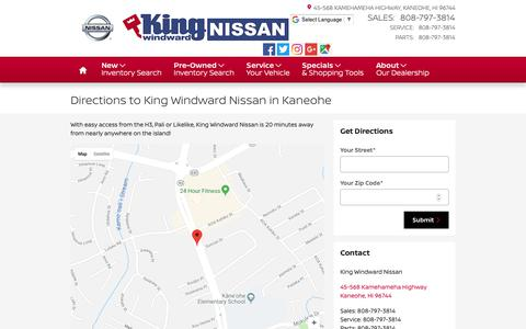 Screenshot of About Page Maps & Directions Page kingwindwardnissan.com - Directions to King Windward Nissan Dealership in Kaneohu, Hawaii - captured Oct. 15, 2018