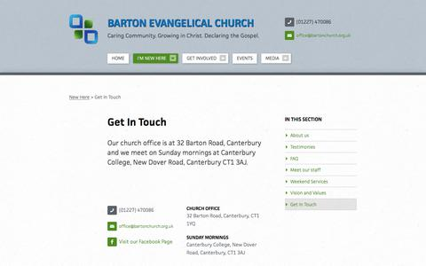 Screenshot of Contact Page bartonchurch.org.uk - Get In Touch   I'm New Here   Barton Evangelical Church - captured April 4, 2016