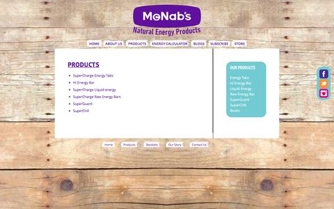 Screenshot of Products Page mcnabs.biz - Products - McNab's Natural Energy Products - captured Feb. 12, 2016