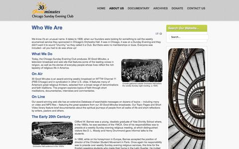 Screenshot of About Page csec.org - Chicago Sunday Evening Club - About Us - captured Oct. 2, 2014