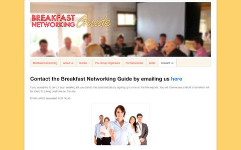 Screenshot of Contact Page breakfastnetworkingguide.com - Contact the Breakfast Networking Guide - www.breakfastnetworkingguide.com - captured Oct. 31, 2014