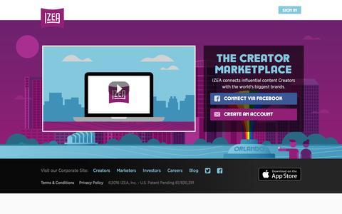 "Screenshot of Signup Page izea.com - IZEA : The Creator Marketplaceâ""¢ - captured Aug. 20, 2016"