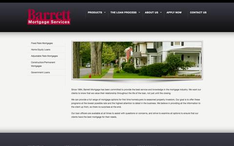 Screenshot of Products Page barrettmortgage.com - Products –  Barrett Mortgage - captured Feb. 7, 2016