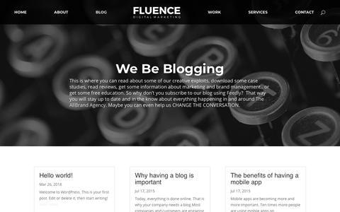 Screenshot of Blog fluence.co.za - The AllBrand Agency Blog - Fluence | Digital Marketing - captured Dec. 20, 2018