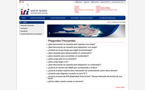 Screenshot of FAQ Page iti.cl - Preguntas Frecuentes - captured Oct. 6, 2014