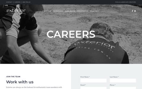 Screenshot of Jobs Page exterior.com.au - Exterior Australia Pool & Landscape Creators - Careers with us - captured Sept. 30, 2018
