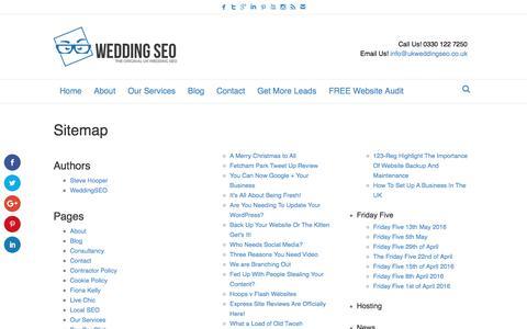 Screenshot of Site Map Page ukweddingseo.co.uk - Sitemap - UK Wedding SEO - captured July 21, 2016