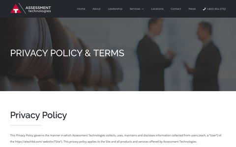 Screenshot of Privacy Page atechltd.com - Privacy Policy - Assessment Technologies - captured Oct. 4, 2018