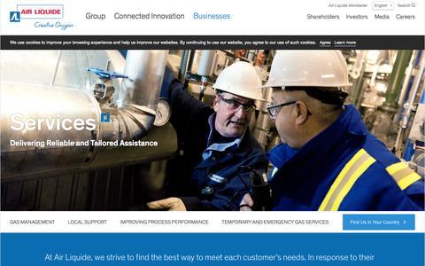 Screenshot of Services Page airliquide.com - Services | Air Liquide - captured Nov. 5, 2015