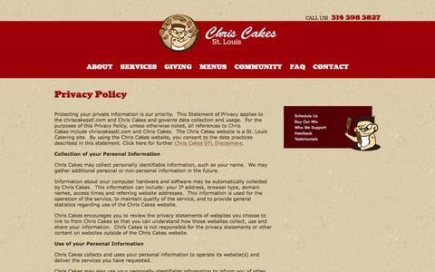 Screenshot of Privacy Page chriscakesstl.com - Privacy Policy | Breakfast, Lunch, Dinner Catering St. Louis | Chris Cakes - captured Jan. 27, 2016