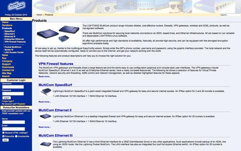 Screenshot of Products Page lightning.ch - Lightning MultiCom - Products - captured Oct. 3, 2014