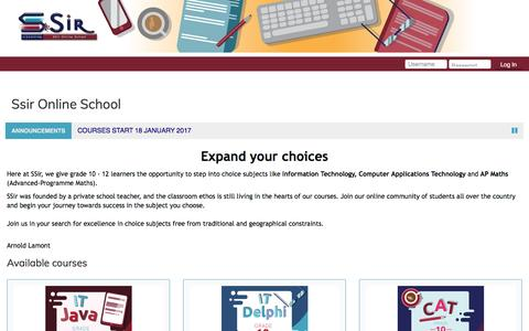 Screenshot of Home Page ssir.co.za - SSir Online School - captured March 5, 2017