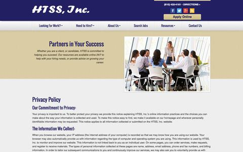 Screenshot of Privacy Page htss-inc.com - Privacy Policy - captured Sept. 26, 2014