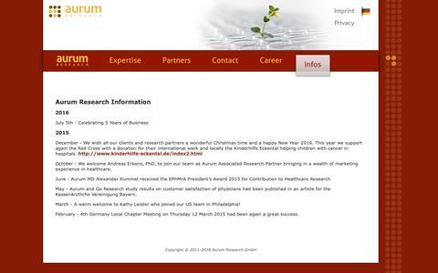 Screenshot of Press Page aurum-research.eu - Aurum Research - Healthcare Market Research - captured Oct. 4, 2018