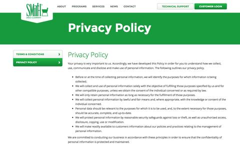 Screenshot of Privacy Page smithdrug.com - Privacy Policy - Smith Drug Company - captured Oct. 9, 2014