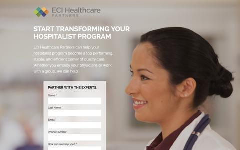 Screenshot of Landing Page ecihealthcarepartners.com captured June 24, 2016