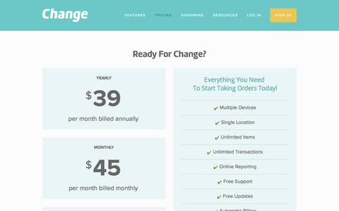 Screenshot of Pricing Page change.io - Pricing For Your Change Restaurant Point of Sale Terminal — Change - captured Oct. 2, 2014