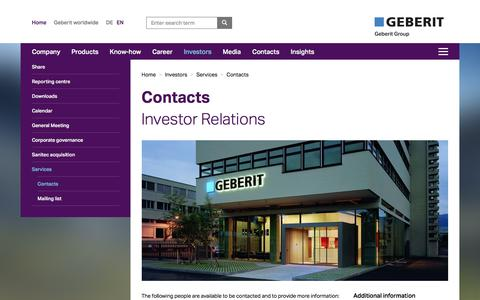 Screenshot of Services Page geberit.com - Contacts Investor Relations - captured Sept. 27, 2017