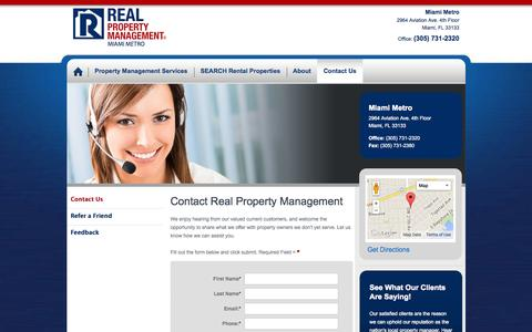 Screenshot of Contact Page realpropertymgt.com - Real Property Management of Miami - Serving Homestead and Surrounding Cities - captured Oct. 26, 2014