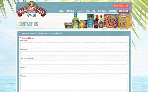 Screenshot of Contact Page Support Page margaritavillefoods.com - Margaritaville Foods :: Contact Us | How to Contact Margaritaville Foods - captured Jan. 17, 2016