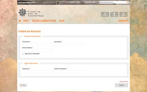 Screenshot of Signup Page creativeuseoftechnology.com - Create New Customer Account - Creative Use of Technology (CUT) - captured Sept. 30, 2014