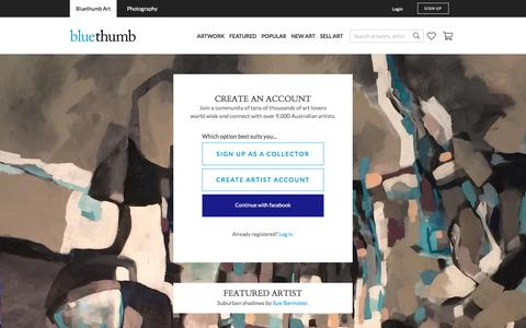 Screenshot of Signup Page bluethumb.com.au - Create an Account | Bluethumb - Online Art Gallery - Buy Art Online - captured Aug. 3, 2018