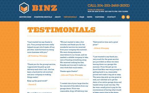 Screenshot of Testimonials Page binzcontainers.com - BINZ Containers |    Testimonials - captured Oct. 5, 2014