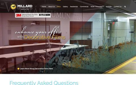 Screenshot of FAQ Page millardwindowfilm.com - FAQs - Millard Enterprises - captured Oct. 19, 2018