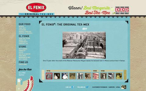 Screenshot of About Page elfenix.com - EL FENIX®: THE ORIGINAL TEX-MEX | ElFenix - captured Oct. 2, 2014