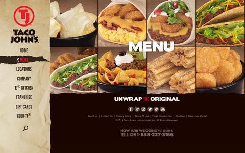 Screenshot of Menu Page tacojohns.com - Taco John's Menu | Tacos, Burritos, Nachos and Potato Olés® - captured Sept. 19, 2014