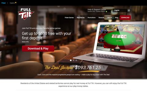Screenshot of Home Page fulltilt.com - Online Poker - Full Tilt - Crafted by players for players - captured Jan. 20, 2016