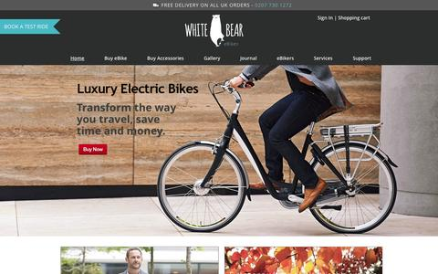 Screenshot of Home Page whitebearebikes.com - Electric Bikes – e-Bikes for urban living at WhiteBeareBikes - captured Oct. 6, 2014