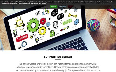 Screenshot of Support Page shopworks.nl - E-commerce support | ShopWorks - hét e-commerce bureau - captured Feb. 23, 2016
