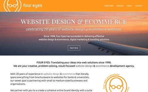 Screenshot of Home Page foureyes.com - Website Design & Ecommerce, Shopify, Mobile Websites, Digital Marketing & Branding Solutions since 1998 - Four Eyes Website Design & Ecommerce - captured Oct. 10, 2018