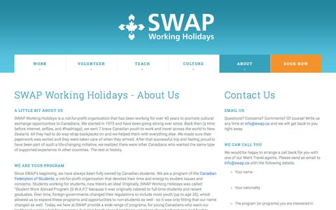 Screenshot of About Page swap.ca - About Us - SWAP Working Holidays - captured Sept. 8, 2016