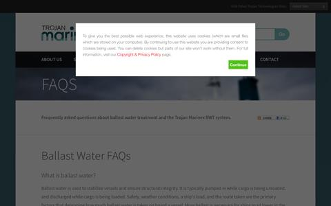 Screenshot of FAQ Page trojanmarinex.com - Frequently Asked Questions (FAQs)  | Trojan Marinex - captured Oct. 9, 2014