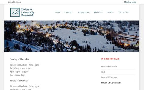 Screenshot of Hours Page thekca.org - The Kirkwood Community Association - captured March 25, 2017