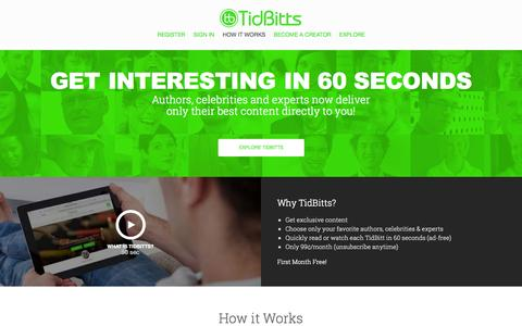 Screenshot of Home Page tidbitts.com - How it Works | TidBitts - captured Sept. 30, 2014