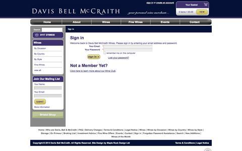 Screenshot of Login Page dbmwines.co.uk - Sign in » Davis Bell McCraith Wines » Your Personal Wine Merchant - captured Oct. 5, 2014