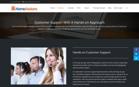 Screenshot of Support Page homeactions.net - Hands-on Customer Support Team – HomeActions - captured July 21, 2018