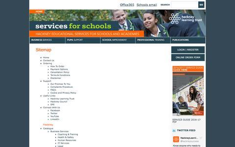 Screenshot of Site Map Page hackneyservicesforschools.co.uk captured Oct. 18, 2016