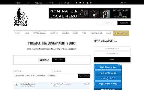 Screenshot of Jobs Page greenphillyblog.com - Philadelphia Sustainability Jobs - captured May 24, 2017