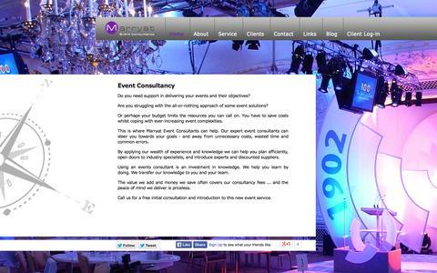 Screenshot of Home Page marryateventconsultants.co.uk - Marryat Event Consultants event management company - captured Sept. 30, 2014