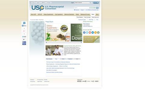 Screenshot of Press Page usp.org - USP News - captured Sept. 23, 2014