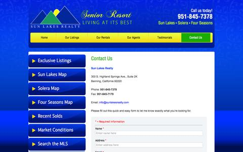Screenshot of Contact Page sunlakesrealty.com - Sun Lakes Realty - Real Estate - Banning, California - Contact Us - captured Oct. 6, 2014
