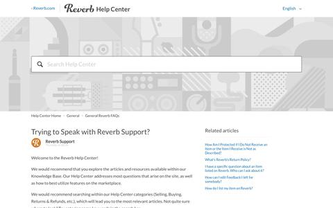 Screenshot of Contact Page reverb.com - Trying to Speak with Reverb Support?  – Help Center Home - captured Oct. 1, 2019